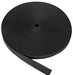 REGULAR-WEIGHT COTTON WEBBING 1 INCH-WIDE BLACK By-The-Roll